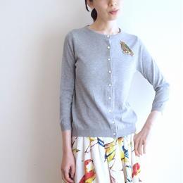 bird embroidery Cardigan grey