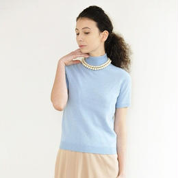 wool cashmere  high-neck  sweater blue (ネックレス付属あり)