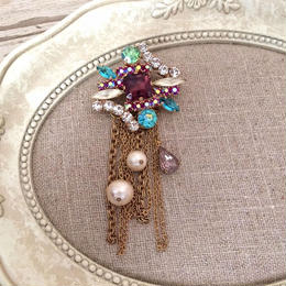 bijou brooch ⑥  wine x blue green chain