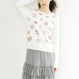 【sample SALE】bijoux print Pullover off white