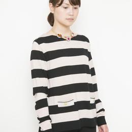 【SALE】antique button Pullover beige x black