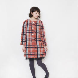 【SALE】mohair check coat orange pink check