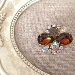bijou brooch ④  brown x clear