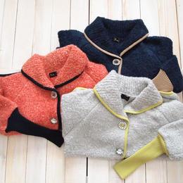 【SALE】mohair loop shawl Jacket orange pink