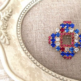bijou brooch ④  blue x clear x pink square