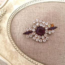 bijou brooch ③ clear x amethyst purple