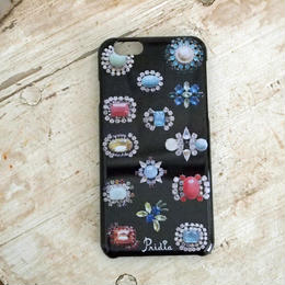 【メール便OK】bijoux print iPhone cover 6 black