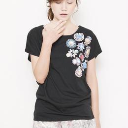 bijoux print wide Tshirts  black