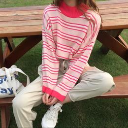 【お取り寄せ商品】ピンクボーダーニットセーター LT113