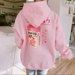 【お取り寄せ商品】Cute Cartoon Printed Back Velvet Thick Hooded LT34