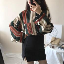 【お取り寄せ商品】Striped Slim Stand collar  Shirts LT39