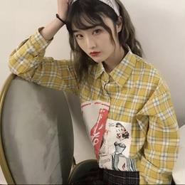【お取り寄せ商品】ギンガムチェック イラストシャツ LT40