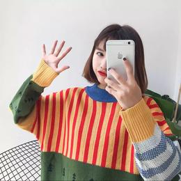 【お取り寄せ商品】カラーステッチニットセーター LT96