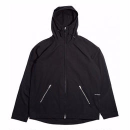 POP TRADING CO. AMS HOODED DOUBLE ZIP JACKET BLACK