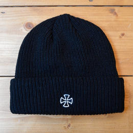 INDEPENDENT CROSS RIBBED LONG SHOREMAN BEANIE - BLACK
