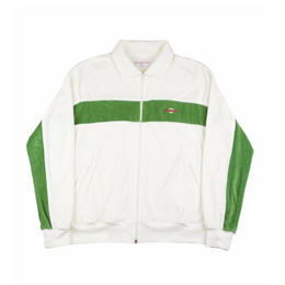 YARDSALE WHITE/GREEN VELOUR TRACK-TOP