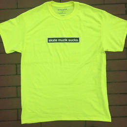 SKATE MUZIK  Skate muzik sucks t-shirts Safety Yellow
