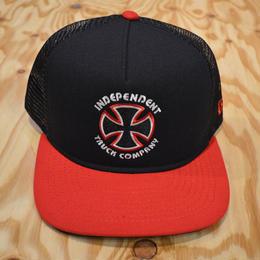 INDEPENDENT BAUHAUS CROSS NEW ERA TRUCKER HAT - NAVY/RED