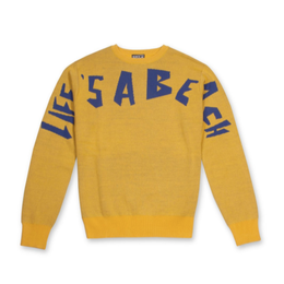LIFE'S A BEACH LAB Strip Logo Crew Yellow