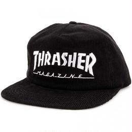 THRASHER Mag Logo Corduroy Snapback Hat  Black