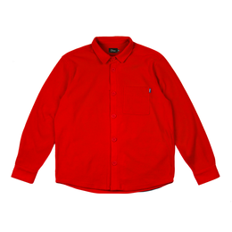 DIME FLEECE BUTTON-UP SHIRT Red