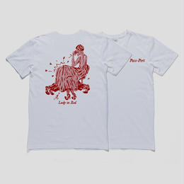 """PASS~PORT """"LADY IN RED"""" TEE WHITE"""