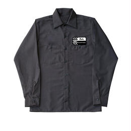 Peels NYC Racing Patch Long Sleeve Work Shirt Stone