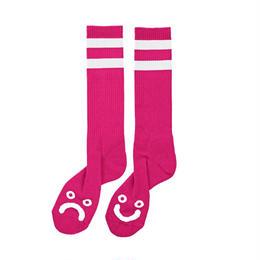 POLAR SKATE CO. HAPPY SAD SOCKS  Hot Pink