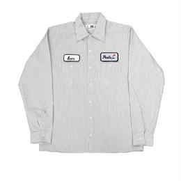 Peels NYC Rose Patch Long Sleeve Work Shirt Striped