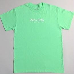 "SWISS BANK""CLOTHING TEE""-MINT/WHITE"