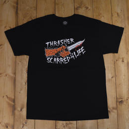 THRASHER SCARRED T-SHIRTS - BLACK