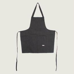 【イタリア製】胸付きショートエプロン カカオ(茶色ストライプ柄)エゴシェフ