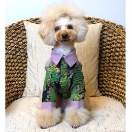 長袖バティックシャツ✨緑×ラベンダー