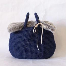 【取り外し可】フェイクファー付き裂き編みバッグ 横長サイズ