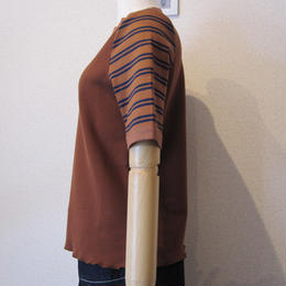 Andcurtaincall border pullover  brown×brown