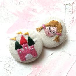 刺繍ボタン♡ お城と女の子2つセット