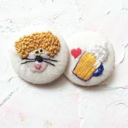 刺繍ボタン♡ パンチ君と生ビール2つセット