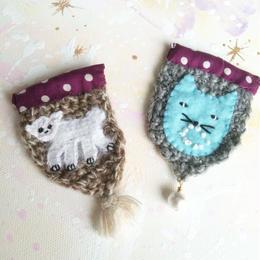 白テナガザルとネコの勲章ブローチ♡
