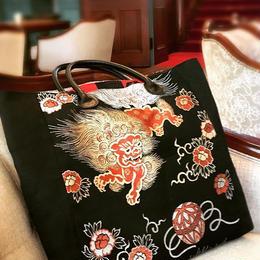京都産正絹 帯のトートバッグ 黒に唐獅子刺繍