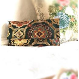 京都産正絹  帯のクラッチショルダーバッグ 深緑色 金 唐花亀甲文様