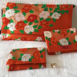 京都産正絹帯 椿文様クラッチバッグ&カードケース&ティッシュケース3点セット