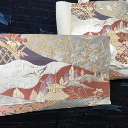 京都産正絹 トートバッグ ショルダークラッチバッグ セット  白銀 風景文様