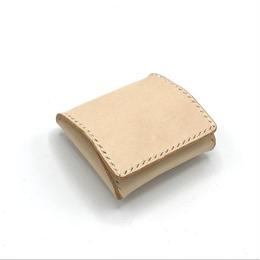 BOX型コインケース/ボックス型小銭入れ ヌメ革:ナチュラル【選べるステッチカラー】(r005)