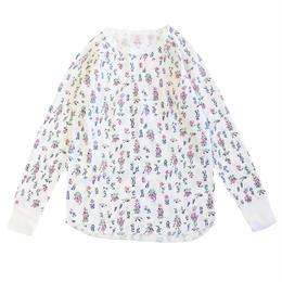 JE MORGAN / レディース 花柄サーマル L/S TEE ホワイト Tシャツ モーガン