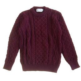 KERRY WOOLLEN MILLS   Aran Cable Crewneck Sweater BURGUNDY ケリーウーレンミルズ アラン ケーブル ニット セーター