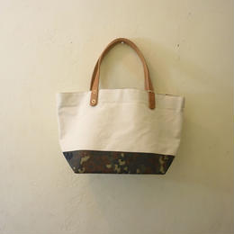 Japanese made canvas & vintage fabric mini tote German camo