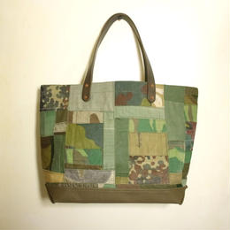 #075 vintage military patchwork &刺し子 bag Large size