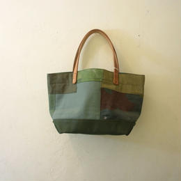 #135 vintage fabric patched mini tote