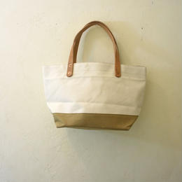 Japanese made canvas & vintage fabric mini tote beige