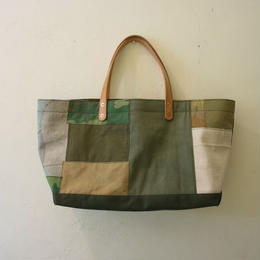 #165 vintage fabric patchwork wide tote